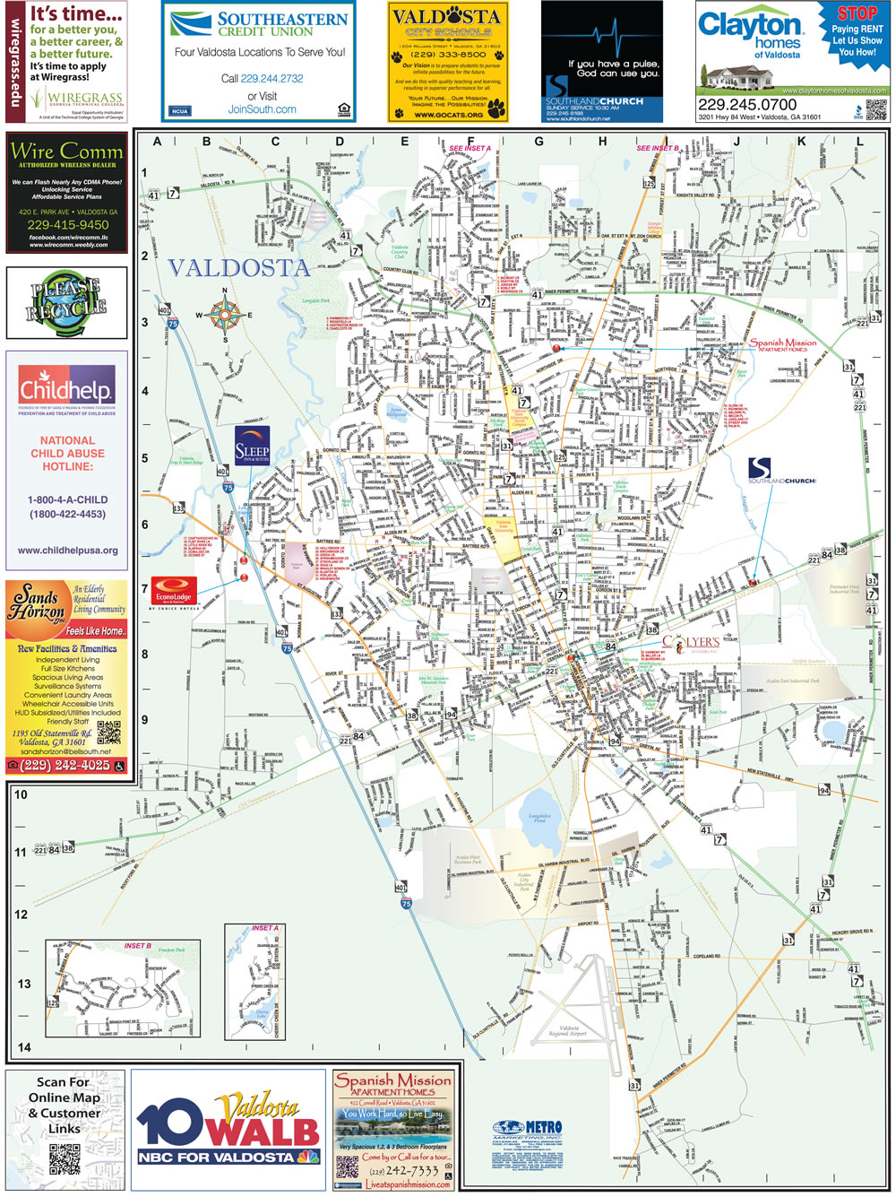 Valdosta Georgia With Lowndes County Overview City Street Map