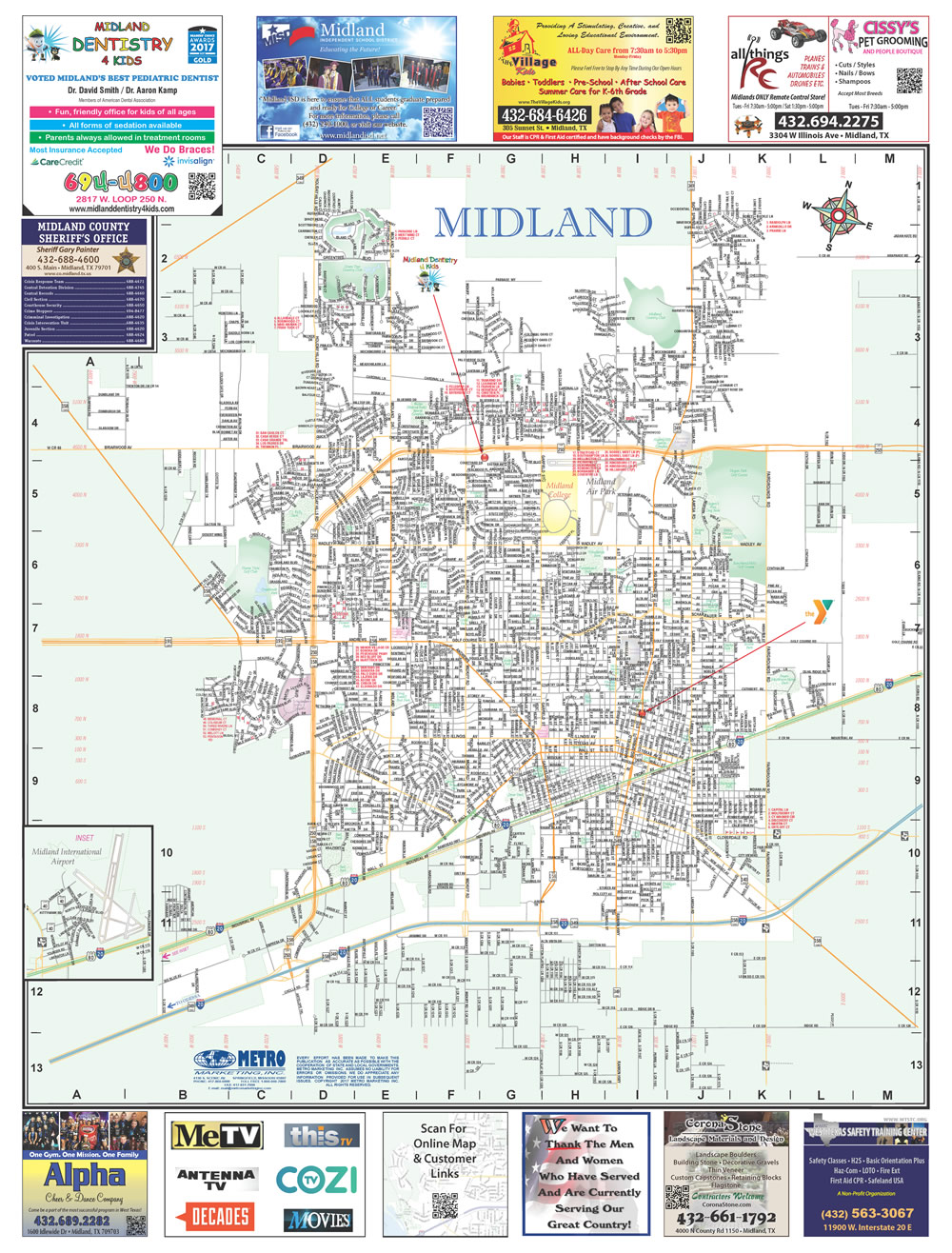 Map Of Texas Midland.Midland Texas With Midland College And Area Overview City Street Map